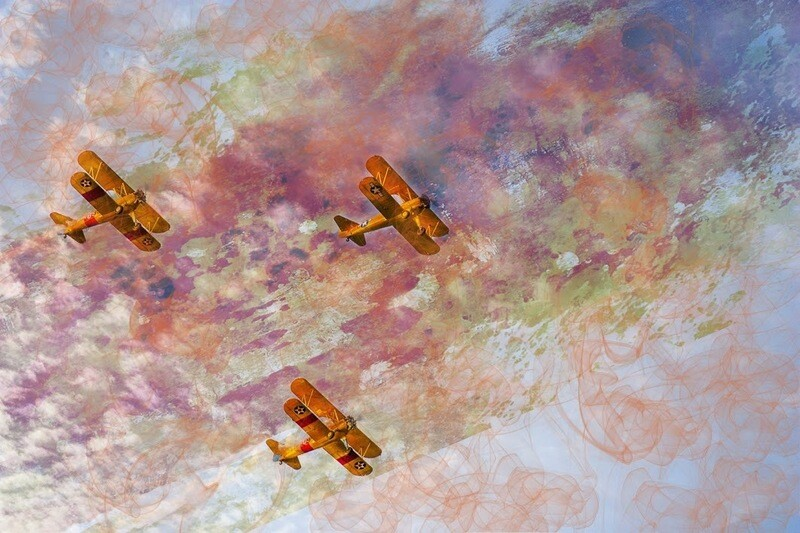 """Biplanes in Flight"" by Carol Campbell"