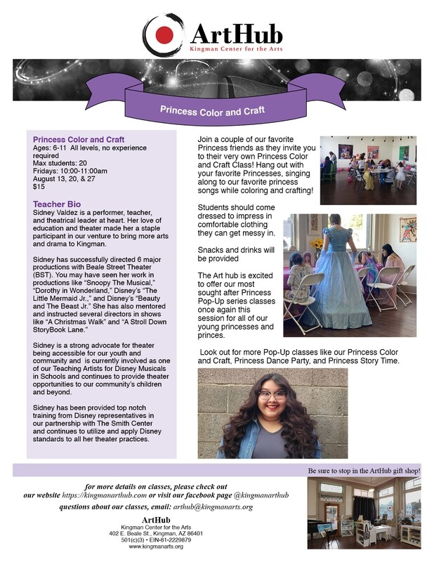 Princess Color and Craft Workshop 8/20