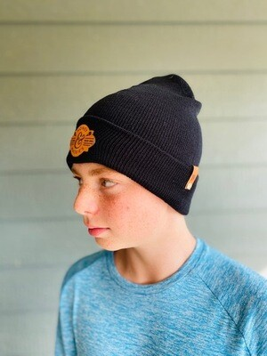 Black Beanie with dark leather patch