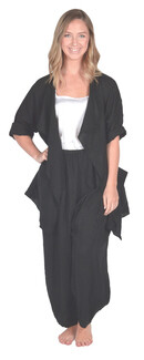 CLW-Black Drape Collar Linen Jacket