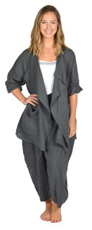 Catherine Lillywhite's-Gray Drape Collar Linen Jacket