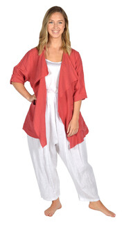CLW-Red Drape Collar Linen Jacket