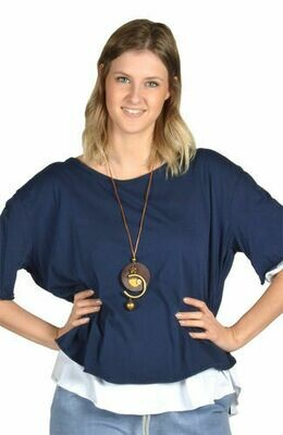 Catherine Lillywhite's-Navy Open Back Tunic with Necklace