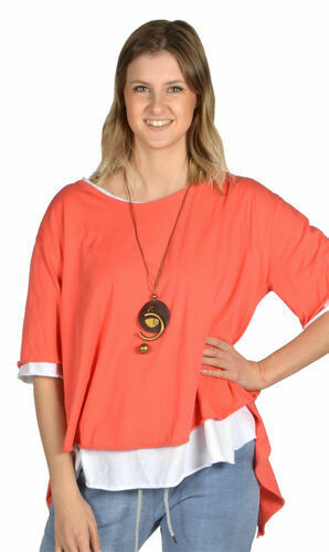 CLW-Coral Open Back Tunic W/Necklace (One Size)