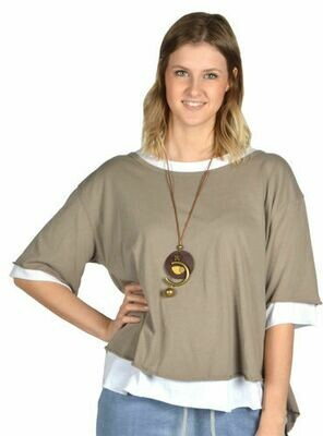 Catherine Lillywhite's-Khaki Open Back Tunic with Necklace
