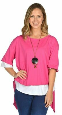 Catherine Lily White-HPK OPEN BK TUNIC W NECKLACE