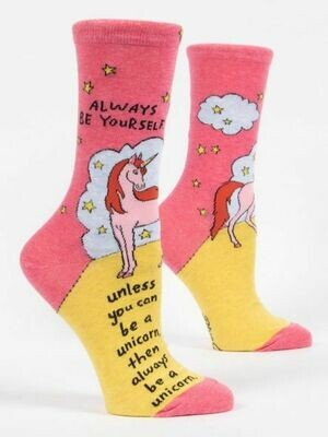 Blue Q Crew Socks - Always Be Yourself Unless You Can Be A Unicorn