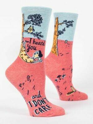 Blue Q Crew Socks - I Heard You and I Don't Care