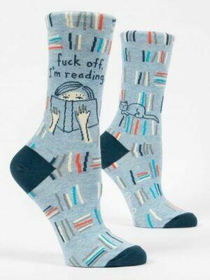 Blue Q Crew Socks - Fuck Off, I'm Reading