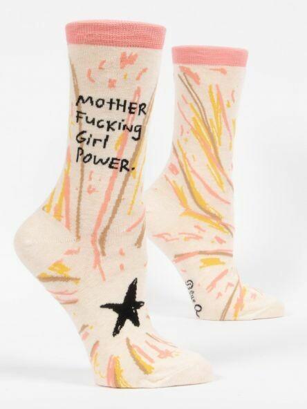 Blue Q Crew Socks - Mother Fucking Girl Power
