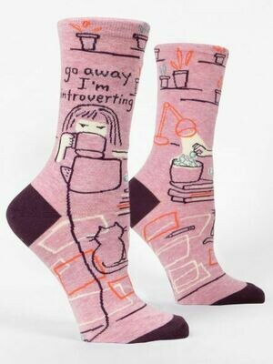Blue Q Crew Socks- Go Away I'm Introverting