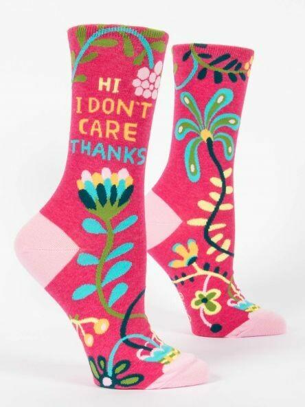 Blue Q Crew Socks - Hi. I Don't Care. Thanks.