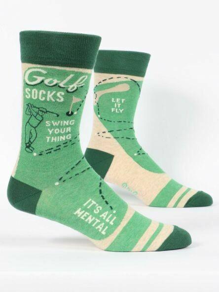 Blue Q Mens Socks - Golf Socks. Swing Your Thing. It's all Mental.
