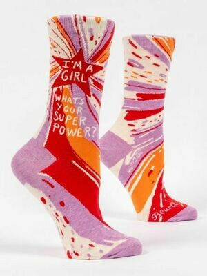 Blue Q Crew Socks - I'm A Girl, What's Your Superpower?