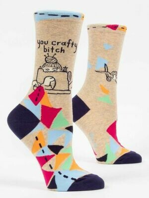 Blue Q Crew Socks - You Crafty Bitch