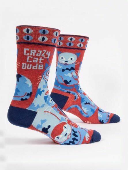 Blue Q Mens Socks - Crazy Cat Dude