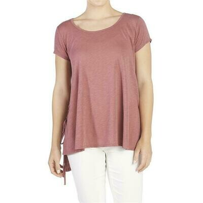 Coco & Carmen-Lace Up Side Tee-Berry - L/XL