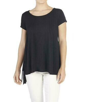 Coco & Carmen-Lace Up Side Tee-Black - S/M