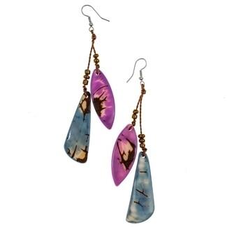 Tagua-Claudia Earrings-Violet Biscayne Bay Lake Blue