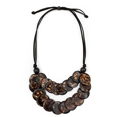 Tagua-Elena Necklace-Black