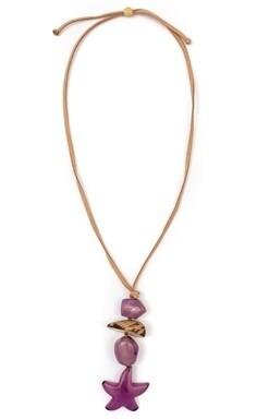 Tagua-Estrellita Necklace-Purple