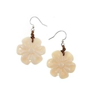 Tagua-Flor Earrings-Ivory