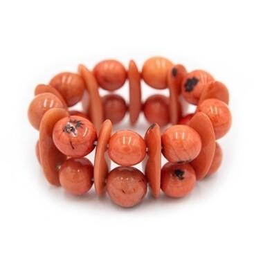 Tagua-Heidi Bracelet-Poppy Coral