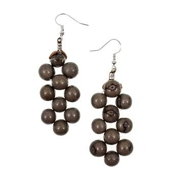 Tagua-Helen Earrings-Charcoal Gray