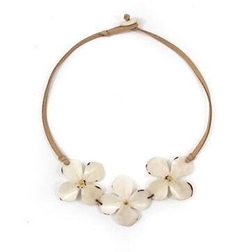 Tagua-Hibiscus Necklace-Ivory