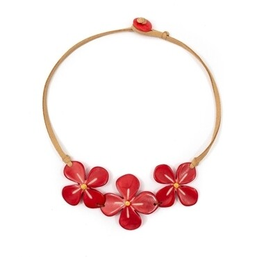 Tagua-Hibiscus Necklace-Poppy Coral
