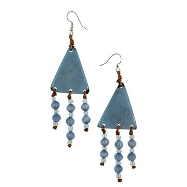 Tagua-Jara Earrings-Biscayne Bay Lake Blue