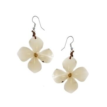 Tagua-Hibiscus Earrings-Ivory