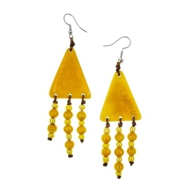 Tagua-Jara Earrings-Yellow