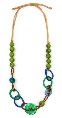 Tagua-Lara Necklace-Lime Royal Blue