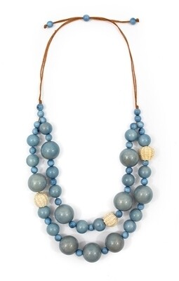 Tagua-Lucy Necklace Biscayne Bay Lake Blue