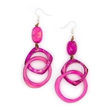 Tagua-Marissa Earrings-Fuscia