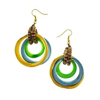 Tagua-Sarah Earrings-Yellow Biscayne Bay Lake Blue Lime