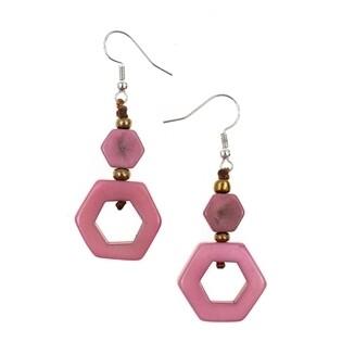 Tagua-Tania Earrings-Pink