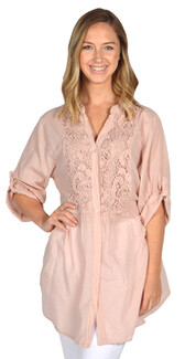 Catherine Lillywhite's-Embellished Lace Shirt-Pink