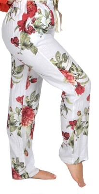 Catherine Lilywhite's-White Linen Pants with Floral Rose Print