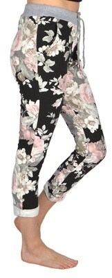 Catherine Lilywhite's-Black & Pink Floral Jeans
