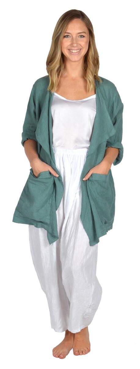 Catherine Lillywhite's-Green Drape Collar Linen Jacket
