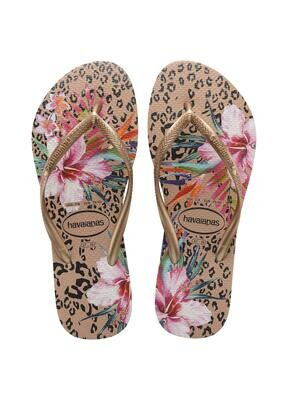 Havaianas - Slim Animal Floral Flip Flops (Size 9/10) - Crocus Rose