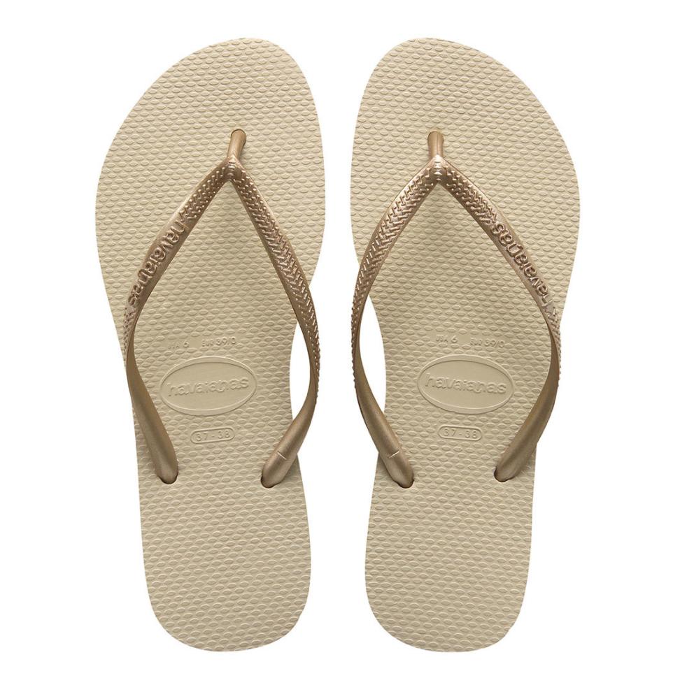 Havaianas Slim Flip Flops (Size 5/6) - Sand Grey/Light Golden