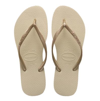 Havaianas Slim Flip Flops (Size 5/6) - Sand Grey/Light Golden