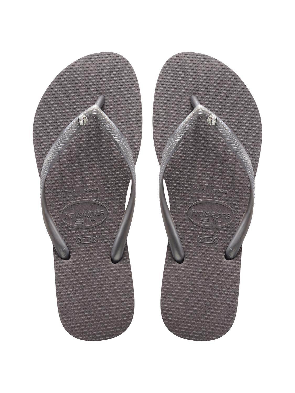 Havaianas - Slim Crystal Glamour Flip Flops (Size 7/8) - Steel Grey