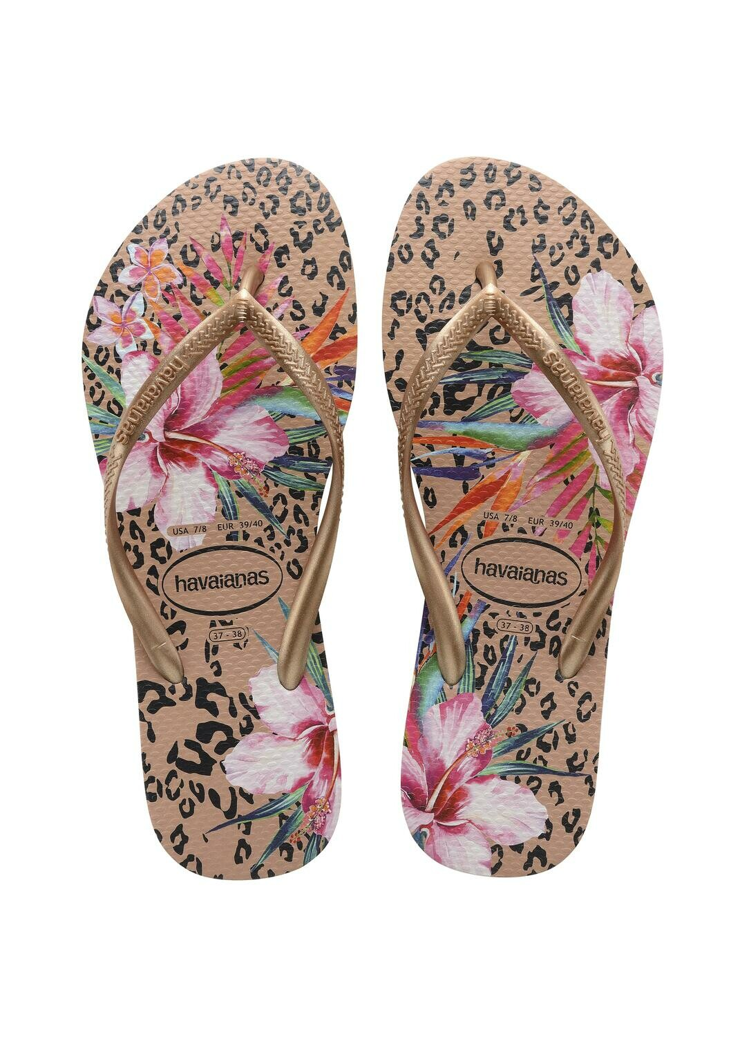 Havaianas - Slim Animal Floral Flip Flops (Size 11/12) - Crocus Rose