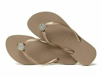 Havaianas - Slim Crystal Poem Flip Flops (Size 9/10) - Rose Gold