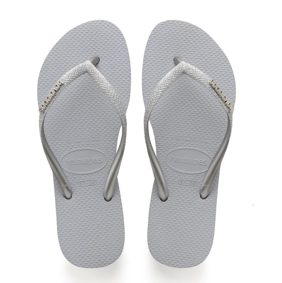 Havaianas - Slim Glitter Flip Flops (Size 11/12) - Steel Grey