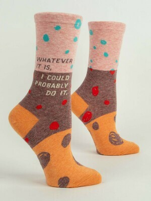 Blue Q Crew Socks - Whatever It Is, I Could Probably Do It.